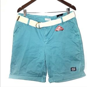 St. John's Bay Bermuda Shorts Womens 14 Blue NWT